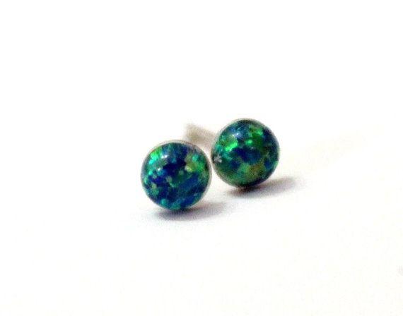 Opal Stud Earrings Emerald Green Opal Stud by OpalJewelryShop