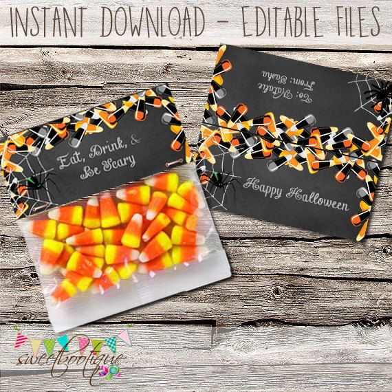Halloween Printable Editable Chalkboard Bag by SweetBootique