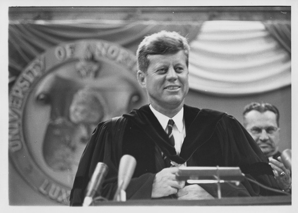 """JFK > """"Let us not rest all our hopes on parchment and on paper; let us strive to build peace, a desire for peace, a willingness to work for peace, in the hearts and minds of all of our people. I believe that we can. I believe the problems of human destiny are not beyond the reach of human beings."""" - President Kennedy, Address Before 18th General Assembly of the UN, 9/20/63"""