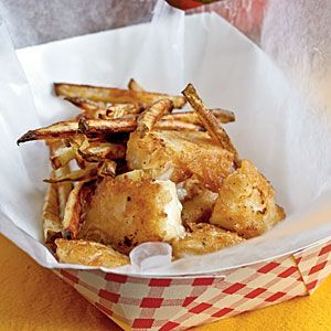 Beer-Battered Fish and Chips Recipe - A popular take-out food in Great Britain, this tasty combo consists of pieces of batter-fried fish and fried potatoes that are much like American-style French fries. Use Alaskan cod in this dish. Serve with malt vinegar. Makes 4 servings.