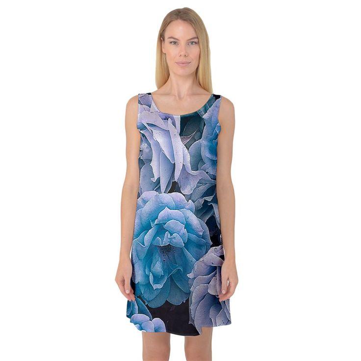 Great+Garden+Roses+Blue+Sleeveless+Satin+Nightdresses
