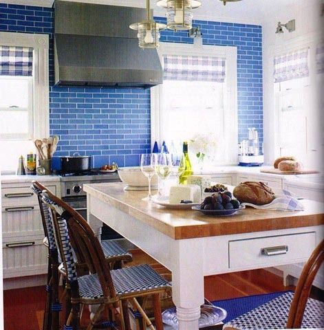 I Would Love To Have Cobalt Blue Brick Tiles In My Kitchen