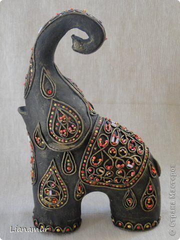Поделка изделие Папье-маше Слонотворение Бисер Бумага Клей Краска Салфетки фото 2