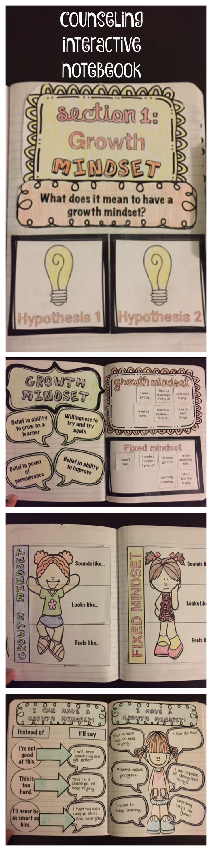Elementary School Counseling Interactive Notebook, Section 1: Growth Mindset from The Counselor's Corner