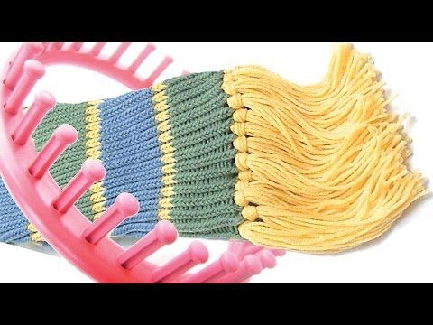 How to make a scarf on a round knitting loom - YouTube