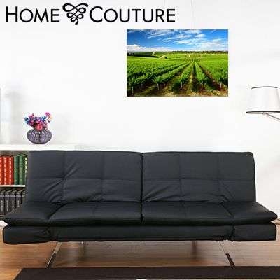 Black Leather fold down sofa bed