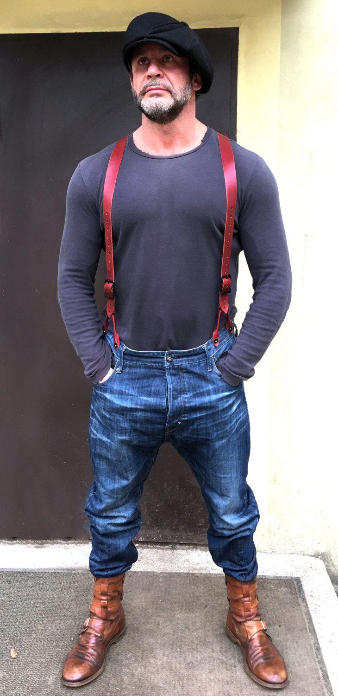 Handmade Men's Leather Belted Braces Suspenders / Brown by VRWORKSHOP on Etsy
