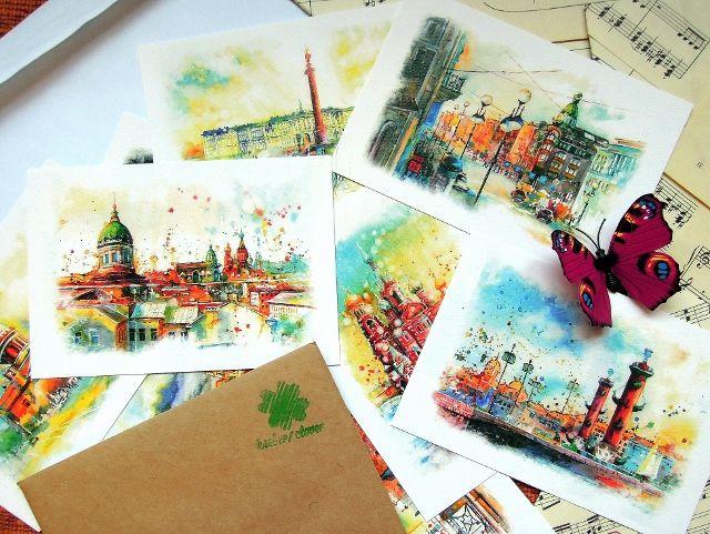 Открытки - яркая акварель, Санкт-Петербург, купить живопись, картины, солнечный Питер