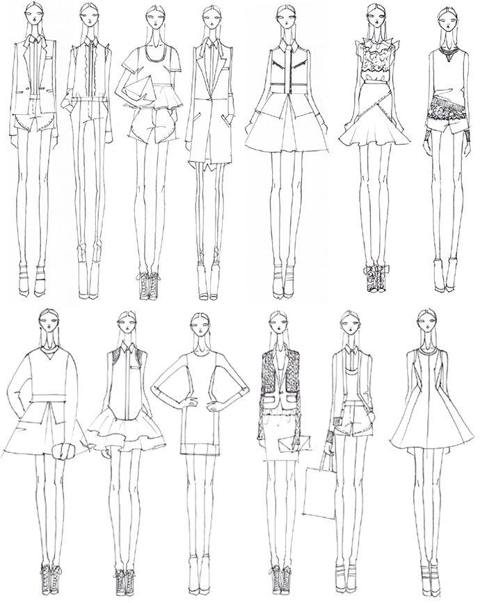 Fashion Sketchbook - fashion design illustrations, collection development - initial lineup // Prabal Gurung