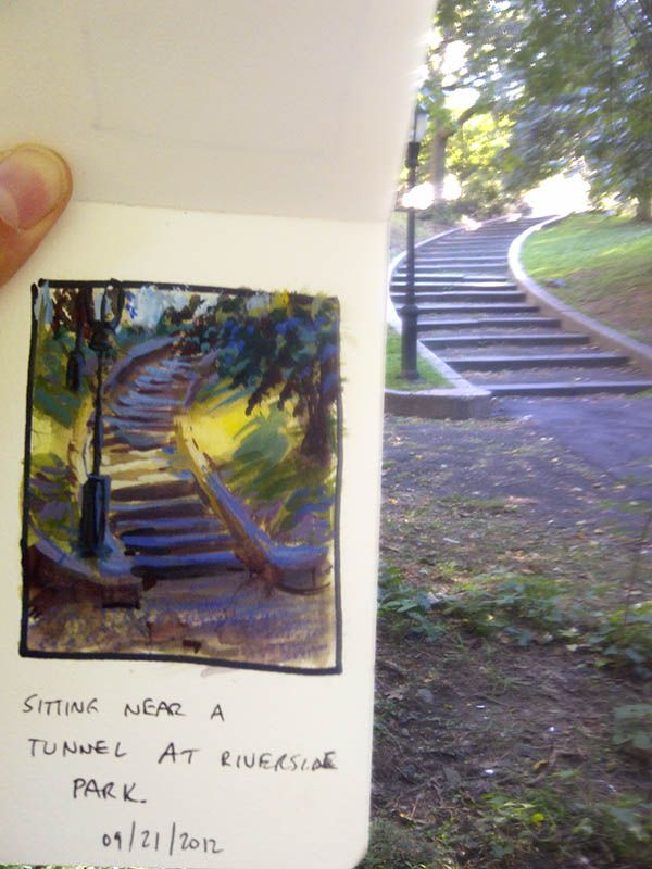 New York Park Sketch by ~MarcoBucci on deviantART  medium: watercolor and gouache