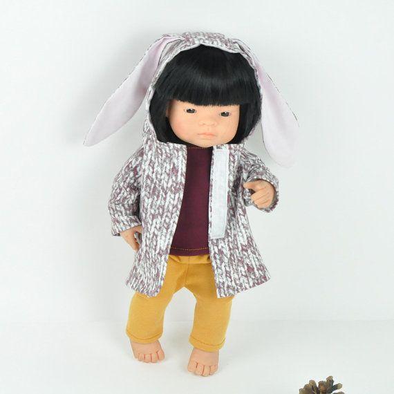 Miniland doll bunny coat bunny ears coat miniland by Przytullale