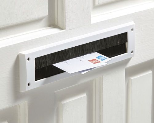 Letterbox Draught Excluder £5 Quick and easy to fit with pre-drilled fixing holes. Prevents draughts coming through the letter box with draught proof bristles. Energy saving draft excluder fits most letter boxes, complete with bristles