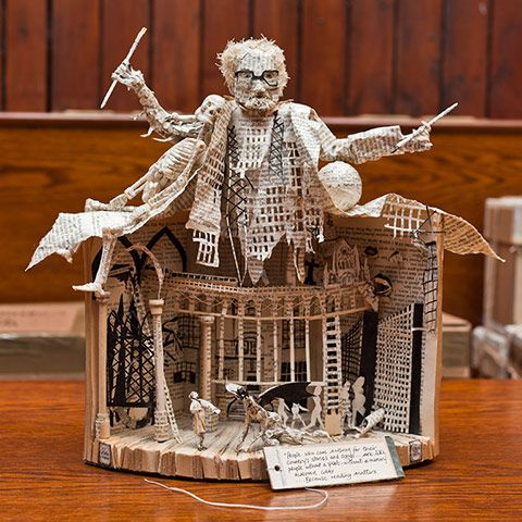In Scotland, a secret book sculptor leaves his art in libraries and public places. Wonderful work!