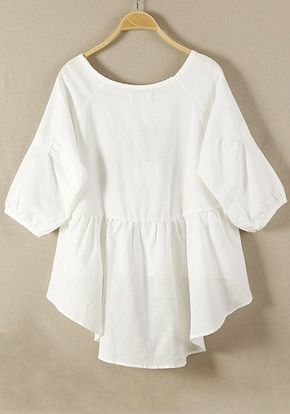 White Plain Hem Irregular Loose Cotton Blend Blouse - Blouses - Tops