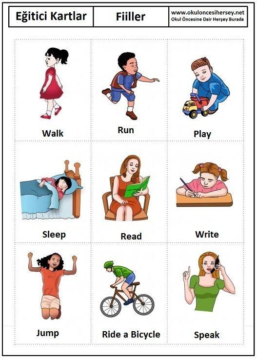 Okul öncesi fiiller eğitici kartları
