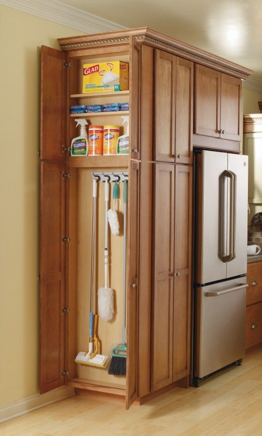 Kitchen pantry storage cabinet broom closet woodworking for Kitchen closet ideas