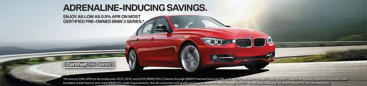 As low as 0.9% APR on most Certified Pre-Owned 3 Series this month! Stop in until 9PM today to check our selection! EXP 6/30/2017 http://www.cainbmw.com/Cain-Bmw-CPO
