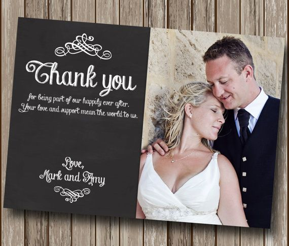 Wedding Thank You Card - Chalkboard Photo Printable - Engagement Thank You Card - DIY