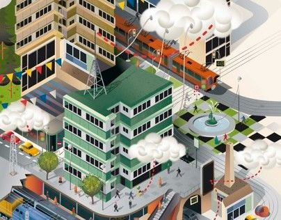 Cityscape Illustrations for Gemalto's The Review Magazine and an article about M2M (Machine to Machine) technology, making Cities greener, more efficient and better connected.