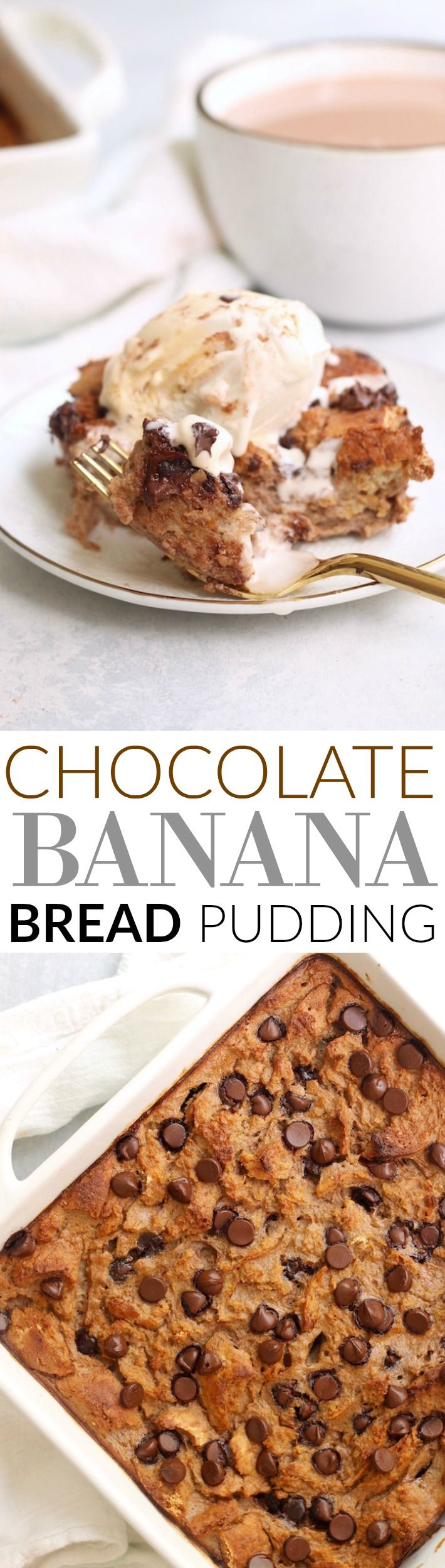 A super easy, tasty, and moist Chocolate Banana Bread Pudding made with ripe bananas, whole grain bread, and chocolate chips that the whole family will love!