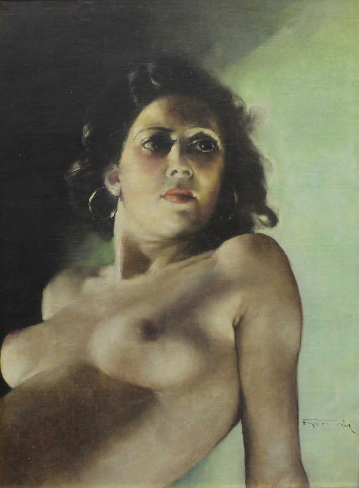 ŽENSKÝ AKT  FRIED PÁL  Obdobie: okolo 1930  Materiál: plátno  Technika: olej  Značenie: vpravo dole     #art #auction #act #women #nude #museum #auctionhouse #diana