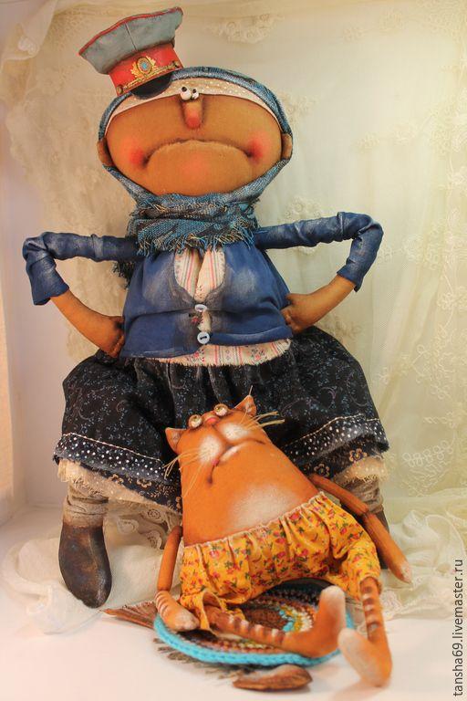 Купить Баба Шура-дознаватель... - разноцветный, текстильная кукла, ароматизированная кукла, интерьерная кукла, котик