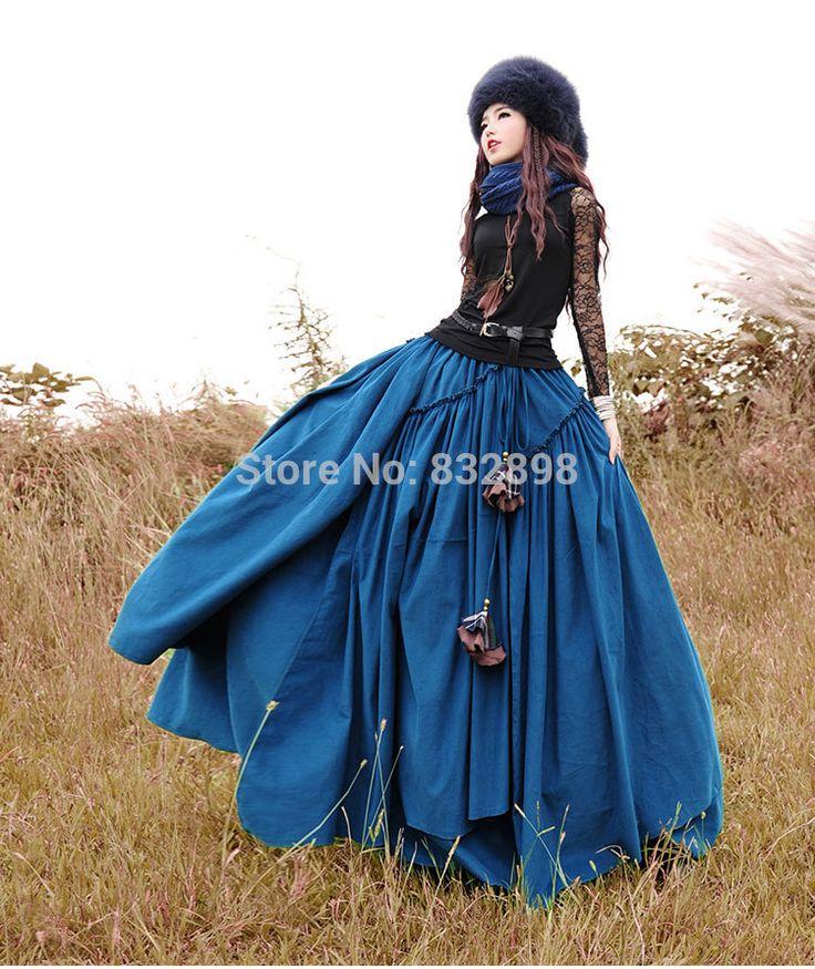 Znajdź więcej Spódnice informacji o Moda Długie Stałe Flowing Spódnice Kobiet Gruba Bawełna Zima Spódnice Saias Spódnice, wysokiej jakości spódnica elastyczna, Chiński spódnica romper dostawca, tanie spódnice spadek od Victorian Dress | Prom Dress | Party Dress| Wedding Dress na Aliexpress.com