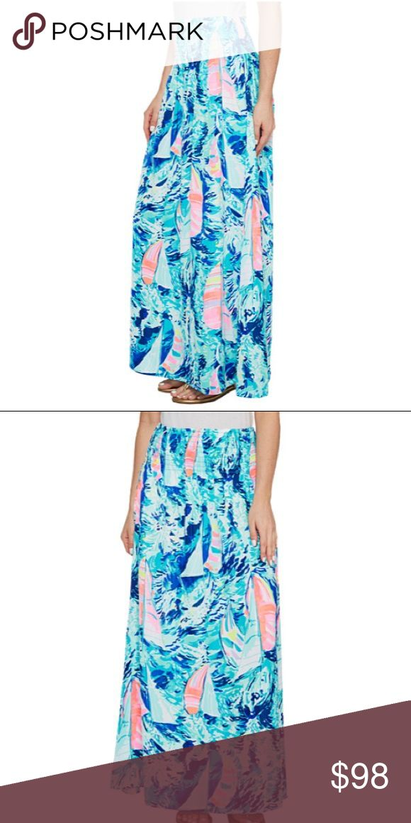 Lilly Pulitzer Bohdi Maxi Skirt Hey Bay Bay L Super cute long maxi Skirt BNWT. Perfect addition to any preppy and stylish wardrobe Lilly Pulitzer Skirts Maxi