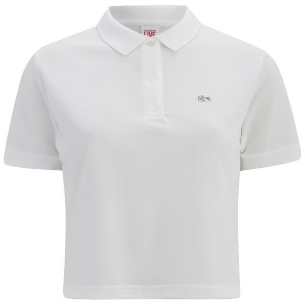 Lacoste L!ve Women's Cropped Polo Shirt - White ($43) ❤ liked on Polyvore