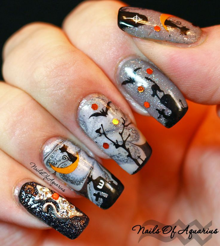 Nails of Aquarius: Cat On The Moon: Watermarble Glow In The Dark Halloween Nail Art Design