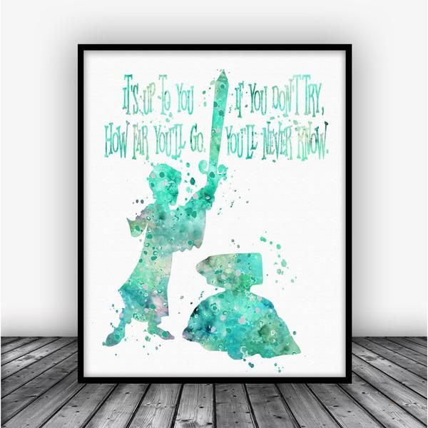 Sword in the Stone Quote Watercolor Art Print Poster. Quotes For Home Decoration, Nursery and Kids Room Decor.