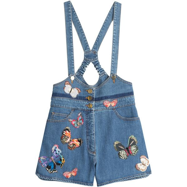 Valentino Denim Playsuit ($2,490) ❤ liked on Polyvore featuring jumpsuits, rompers, blue, blue bib overalls, denim bib overalls, denim overall, blue rompers and bib overalls