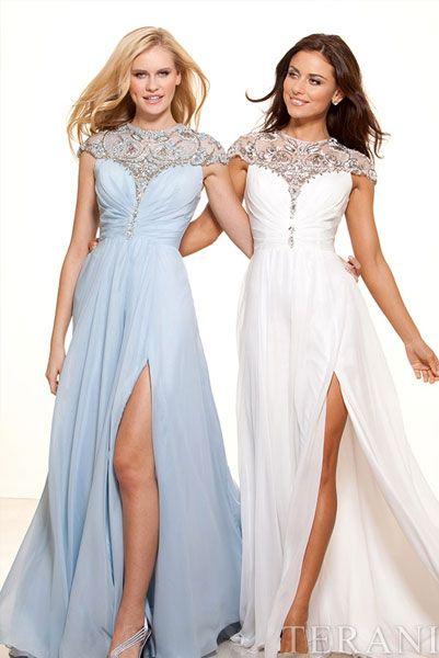 Длинные вечерние платья с разрезом на юбке спереди
