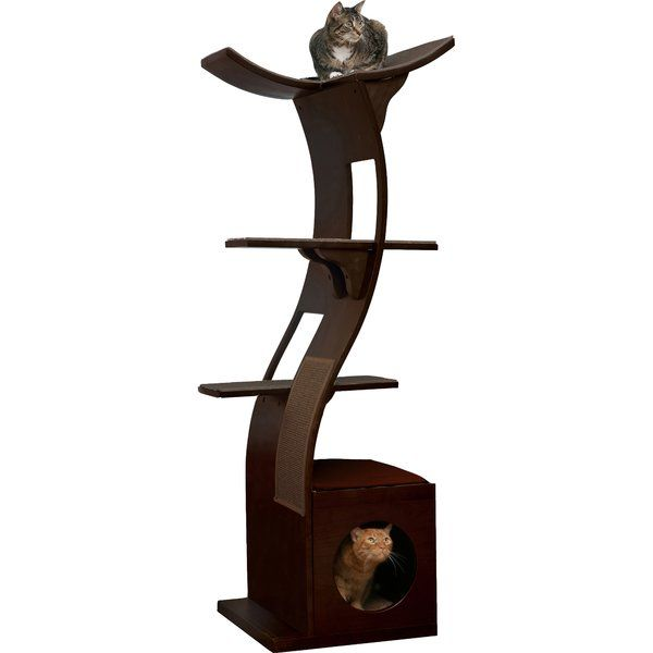 Give your cats a great place to play and rest with The Refined Feline The Lotus Cat Tree. It is great for eclectic and modern home decor. <br/><br/>The Lotus Cat Tree in Espresso by The Refined Feline is made of wood, which ensures strength and durability. It has an espresso finish, which suits most color schemes. This cat tree can accommodate five cats in its four-tiered flowering tower. It includes a condo, which provides a healthy outlet to the cats and for those time...