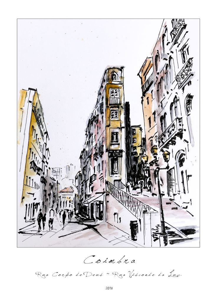 Victor Melo ~ Coimbra ~ Sketch ~ Indian ink + ArtGraf soluble Earth Colors