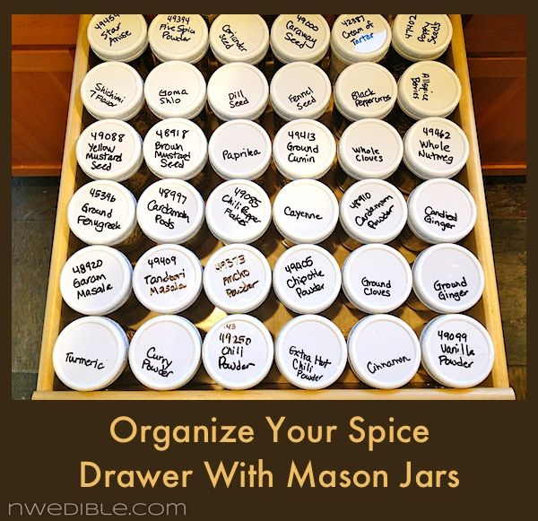 How To Organize Your Spice Drawer With Mason Jars: Spices Drawers, Masons, Organizations Ideas, Kitchens Ideas, Organizations Spices, Serious Spices, Spice Drawer, Mason Jars, Spices Collection