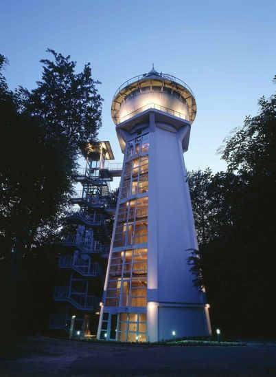 Water Tower in Essen-Bredeney, Germany, converted into an eight-story, multiple-use building by German architectural firm Madako in 2002.