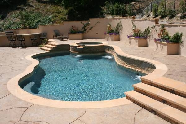 4 cut and fabricated arizona flagstone coping and steps for Design of swimming pool concrete