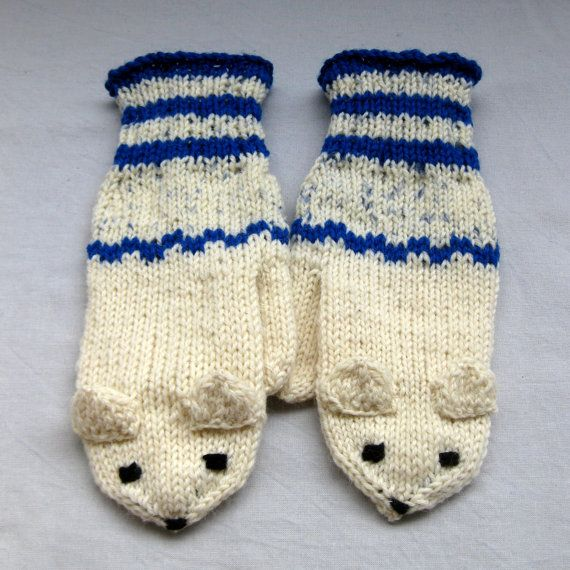 Winter weasel mittens in white and blue for by SaijaSkills on Etsy, €21.00