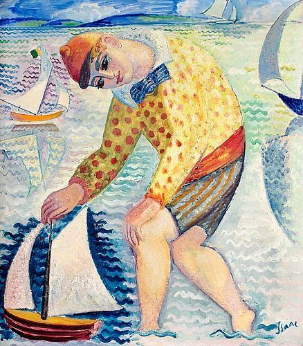 """ISAAC GRÜNEWALD, """"GOSSE MED SEGELBÅT"""". Signerad Isaac. Utförd 1918 på Fanö i Danmark. Duk 74 x 65 cm."""
