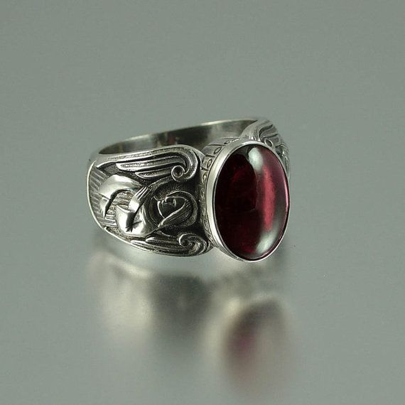 GUARDIAN ANGELS Men's Silver Ring with Garnet - reminds me of the old knights, if this was made for women I would wear it! :)