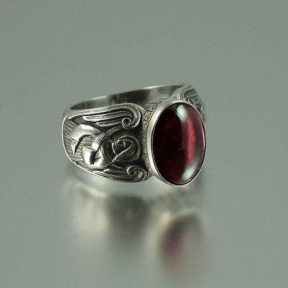 GUARDIAN ANGELS Zilveren Ring met granaat maten 8 door WingedLion