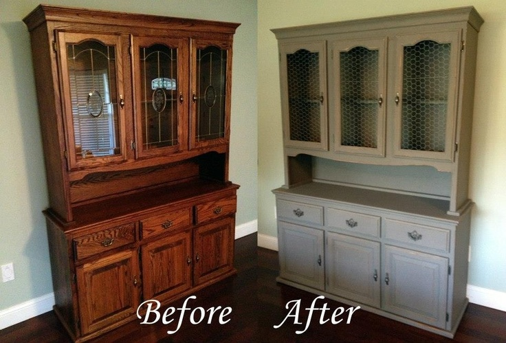Hutch redo | before and after | distressed grey | glass inserts replaced with chicken wire