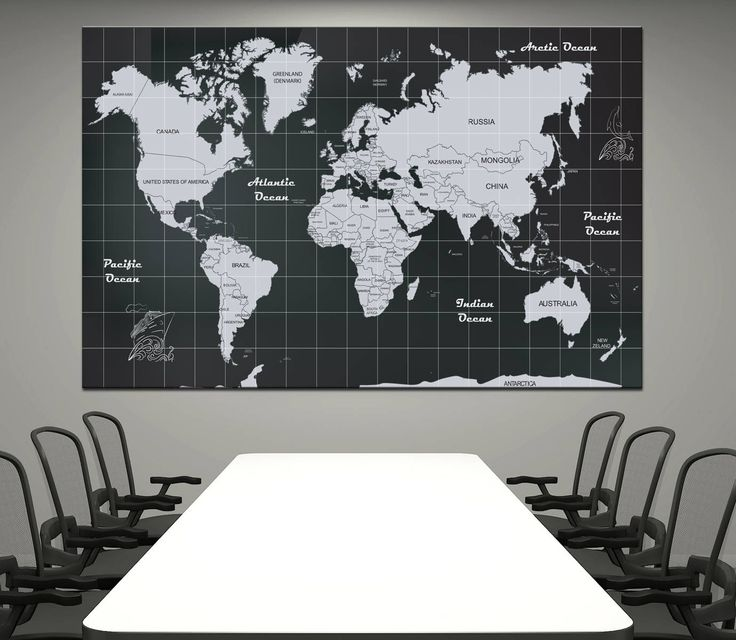 Large Black and White detailed world map Canvas Print World Map With Countries Names, home decor world map canvas print ready to hang. by CanvasPrintStudio on Etsy
