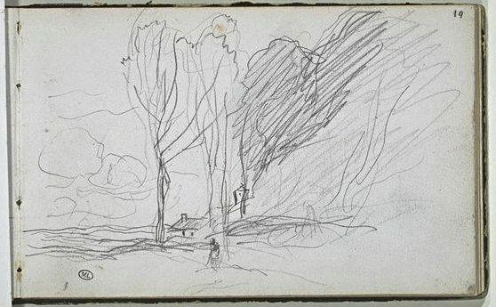 Jean-Baptiste Camille Corot | Landscape | Page from Louvre's Corot Album No. 12, folio 19 | Graphite on white paper | 115 x 180 mm. | Musée du Louvre | Paris