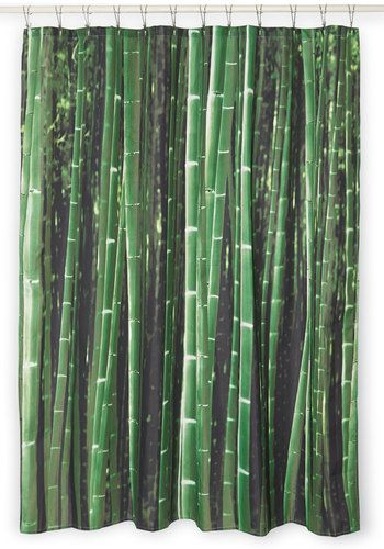 Beyond the Grove Shower Curtain in Bamboo. As you enter your bathroom each morning, your toes sink into your plush rug like soft soil, and this green bamboo-patterned shower curtain greets you with wild glory. #greenNaN