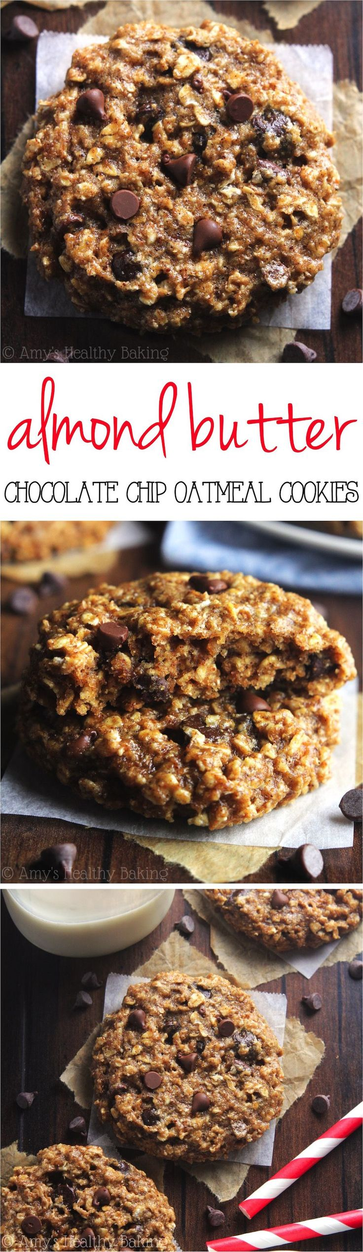Clean-Eating Chocolate Chip Almond Butter Oatmeal Cookies -- these skinny cookies don't taste healthy at all! You'll never need another oatmeal cookie recipe again!