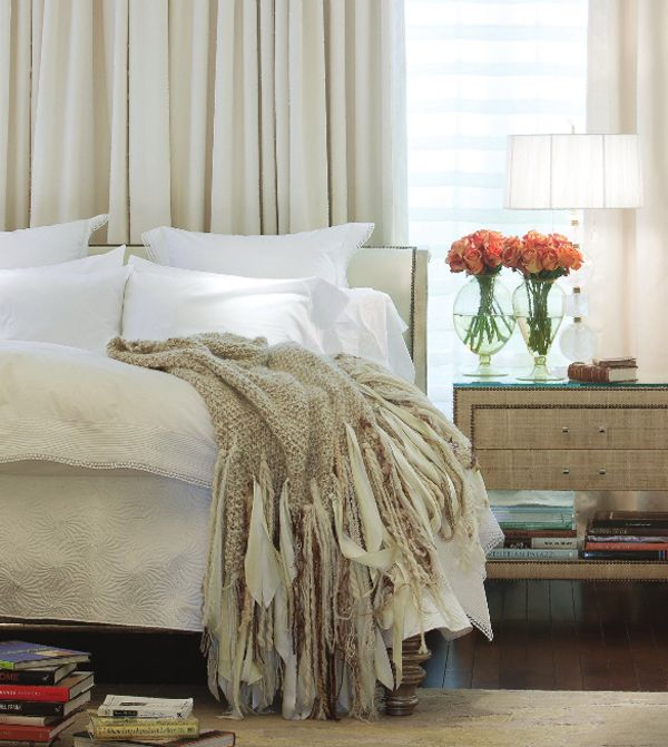 classic and comfortable.  neutral color palette, textural throw blanket, and nailhead bedside table.