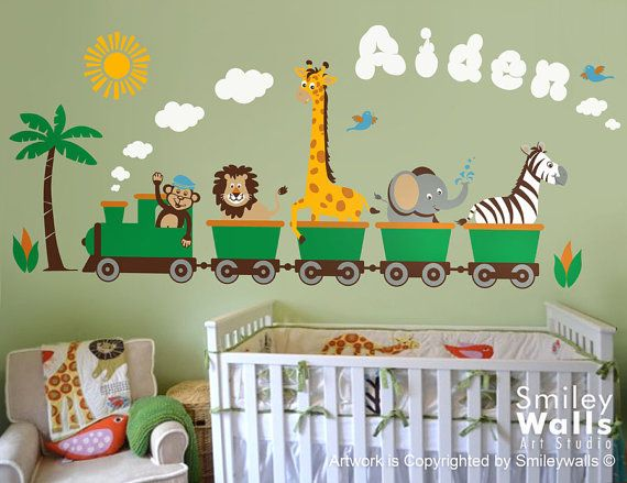 Personalized Safari Train Wall Decal Jungle Animals Train Wall Decal Monkey Giraffe Elephant Lion Zebra Nursery Kids Playroom Room Sticker