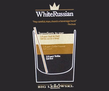 White Russian Recipe- The Big Lebowski shirt - Funny Movie Tees at ShirtShovel.com